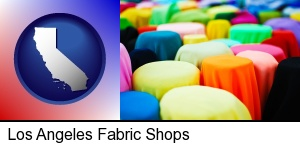 Los Angeles, California - bolts of fabric in a fabric shop