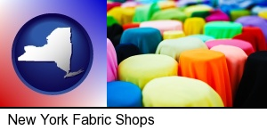 New York, New York - bolts of fabric in a fabric shop